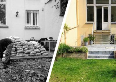Avant-après d'une réalisation de terrasse d'une maison
