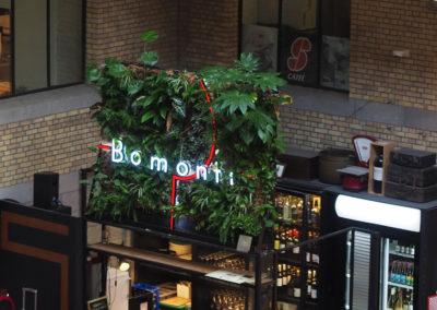 Mur végétal intérieur - logo éclairé
