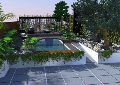 Terrasse composite . Piscine . Pergola